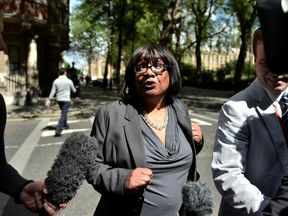 Diane Abbott arrives at Millbank as her gaffe stole the headlines