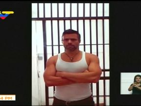 Leopoldo Lopez recording a proof of life video from prison