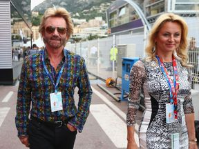 Noel Edmonds and his wife Elizabeth arrive prior to the Monaco Formula One Grand Prix