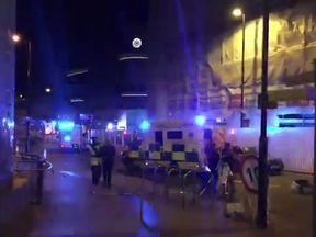 Footage of the scene outside the Manchester Arena. Pic: @MISSSH3LXO
