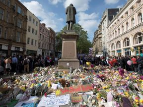 Messages and floral tributes left for the victims of the attack in Manchester