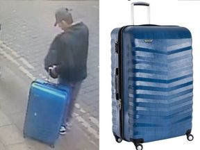 An image of Salman Abedi with a blue suitcase taken in Manchester city centre on 22 May and a replica of the suitcase
