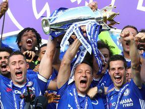 Chelsea lift the Premier League trophy at Stamford Bridge