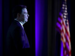 Federal Bureau of Investigation Director James Comey delivers the keynote remarks at the Intelligence and National Security Alliance Leadership Dinner March 29, 2017 in Alexandria, Virginia