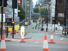 The area around Manchester Arena was still cordoned off on Wednesday morning