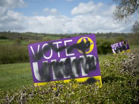 A UKIP poster defaced at the time of the 2015 General Election