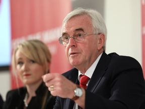 Labour's John McDonnell and Rebecca Long-Bailey speak at a news conference