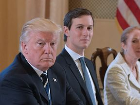US President Donald Trump and White House senior adviser Jared Kushner take part in a bilateral meeting with Italy's Prime Minister