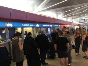 The scene in Berlin where BA passengers are stranded. Picture: Simon Bucks