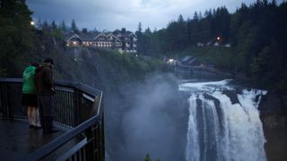 "Snoqualmie Falls, adjacent to the Salish Lodge & Spa which is featured as The Great Northern Hotel in the opening sequence of the ""Twin Peaks"""