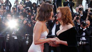 Bella Hadid kisses actress Susan Sarandon