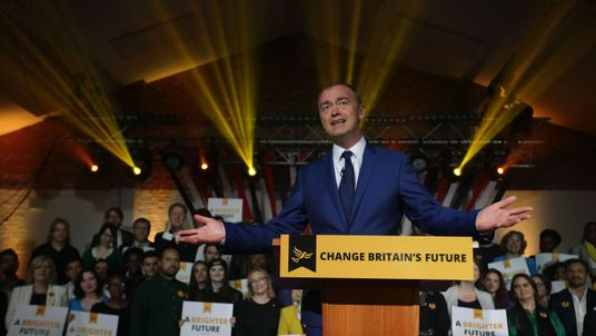 Liberal Democrats leader Tim Farron gestures as he speaks at an event to launch the party's general election manifesto in London on May 17, 2017