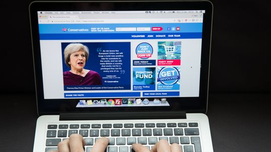 BRISTOL, UNITED KINGDOM - APRIL 24: In this photo illustration a woman looks at the Conservative party website on a laptop computer on April 24, 2017 in Bristol, England. The use of digital marketing and social media platforms such as Facebook and Twitter are likely to play and important role in the snap general election to be held on June 8. (Photo by Matt Cardy/Getty Images)