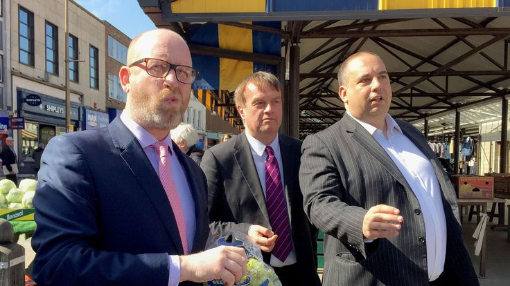 UKIP leader Paul Nuttall eats grapes on the campaign trail