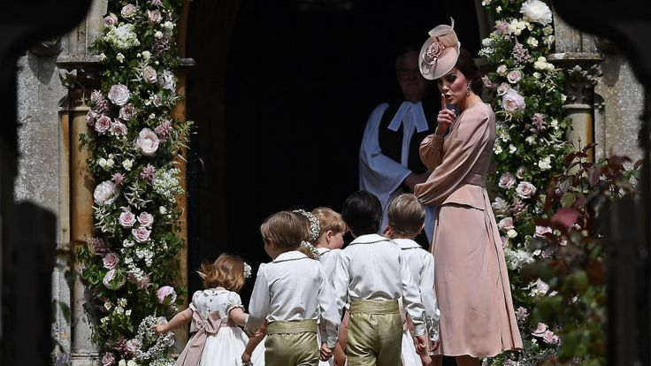 The Duchess of Cambridge at her sister's wedding with the page boys and bridesmaids