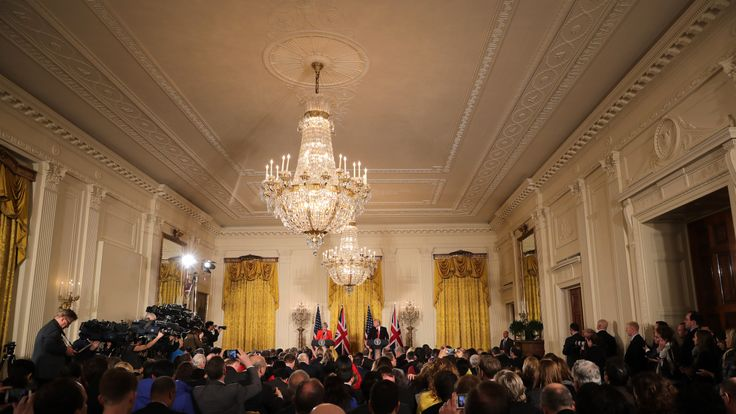 US President Donald Trump receives questions from the media during a joint press conference with British Prime Minister Theresa May in The East Room at The White House on January 27, 2017
