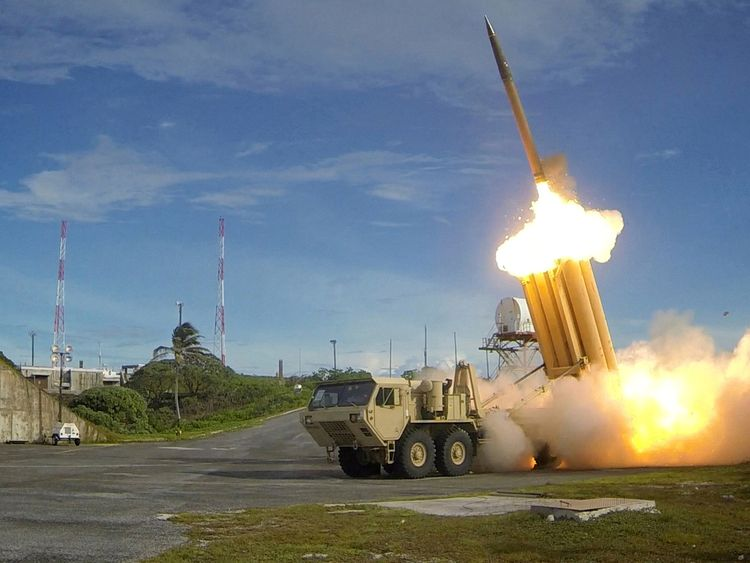 A THAAD missile interceptor missile is tested. File pic