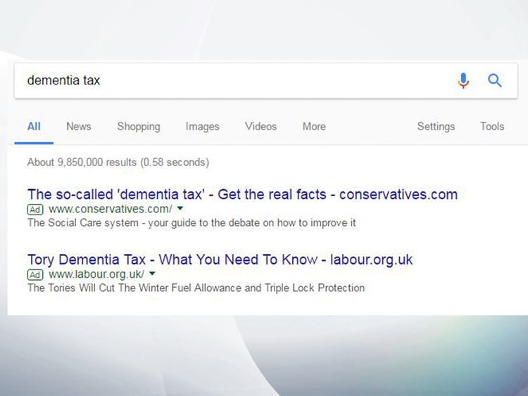 Google advertisements bought by Labour and the Tories