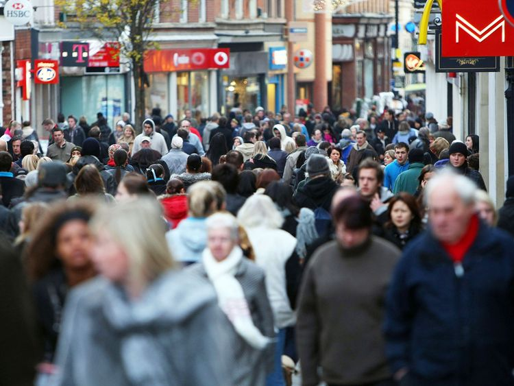 Christmas shoppers pack the streets of Nottingham