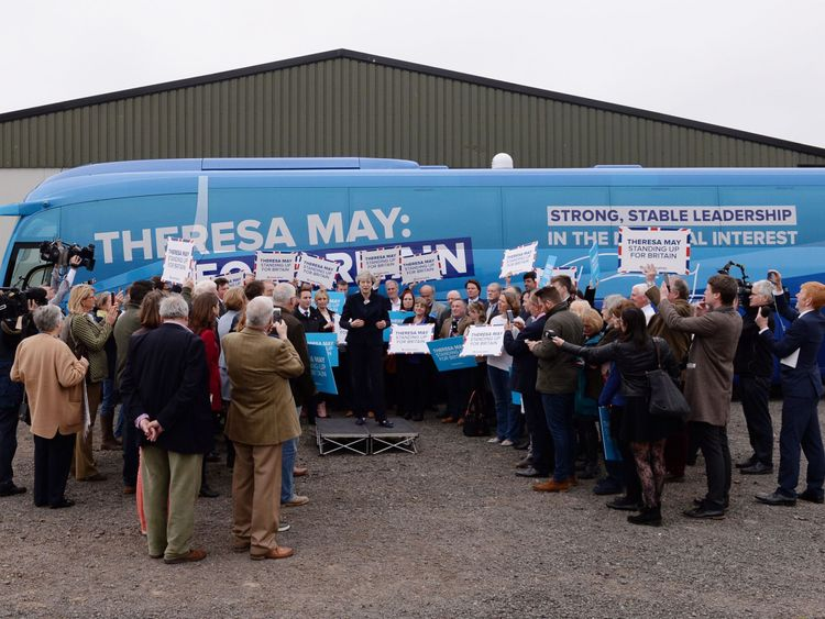 Conservative leader Theresa May at the launch of the party's campaign bus at Eshott airfield, Northumberland.