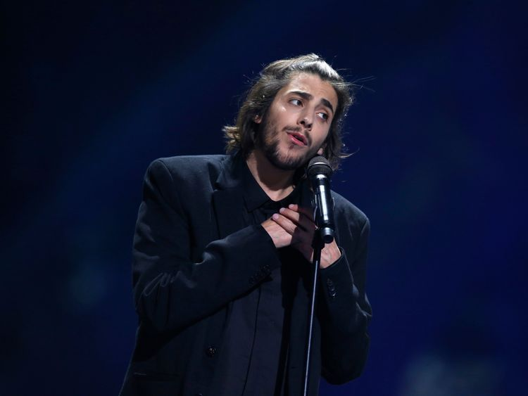 Salvador Sobral, representing Portugal, performs the song Amar Pelos Dois