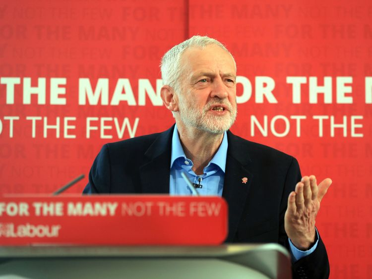 Jeremy Corbyn launches Labour's education plans during a visit to Leeds