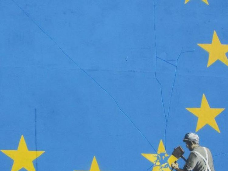 The artwork is in a town that is the gateway to Europe
