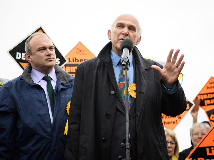 Sir Ed Davey (L) and Sir Vince Cable