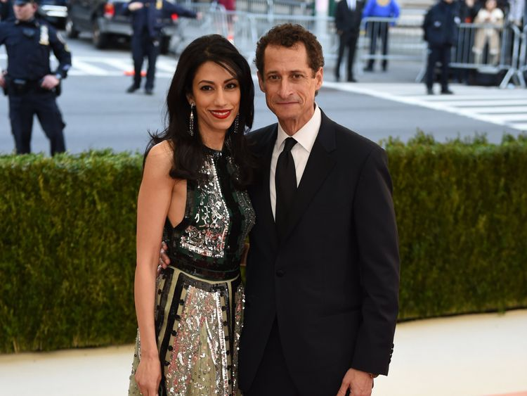 Anthony Weiner and his mother Huma Abedin graphic in New York in May 2016