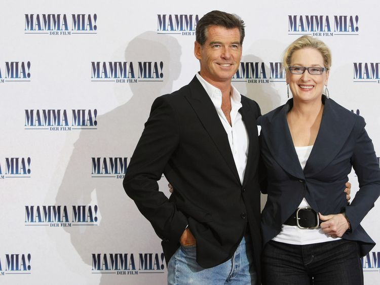 Pierce Brosnan and Meryl Streep at the German premiere of the original Mamma Mia!