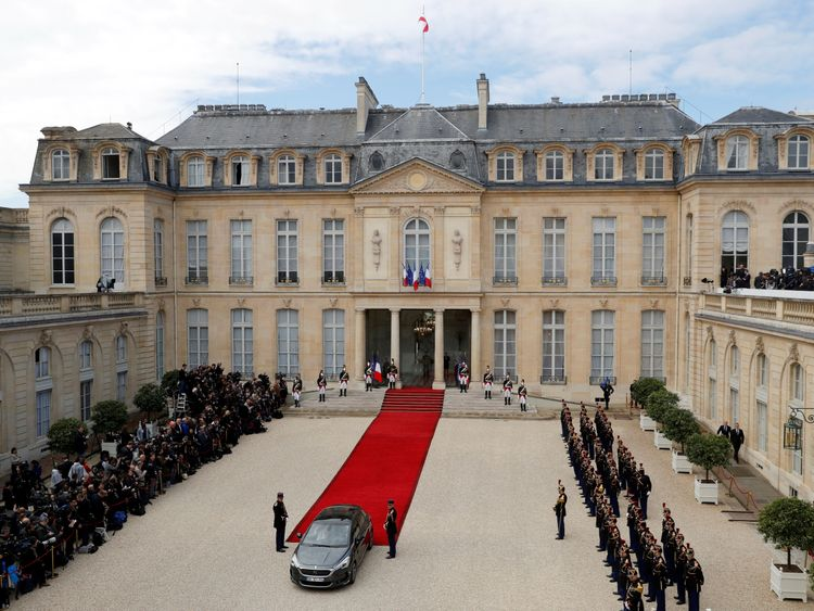 The Elysee Palace with the red carpet in the courtyard during the handover ceremony
