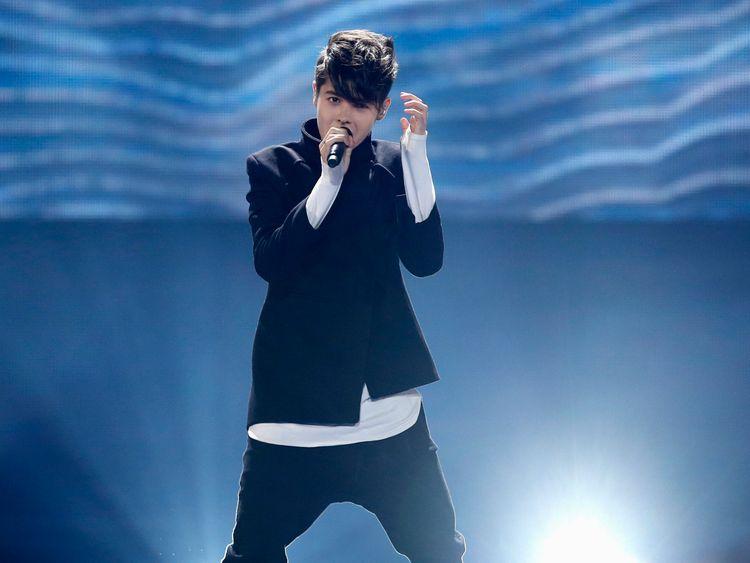 Kristian Kostov representing Bulgaria performs the song Beautiful Mess