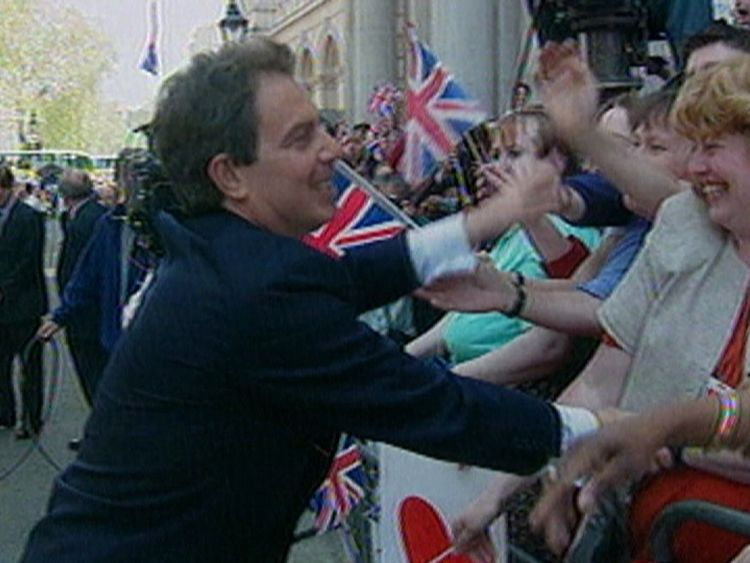 Tony Blair is congratulated after the Labour Party wins the 1997 election