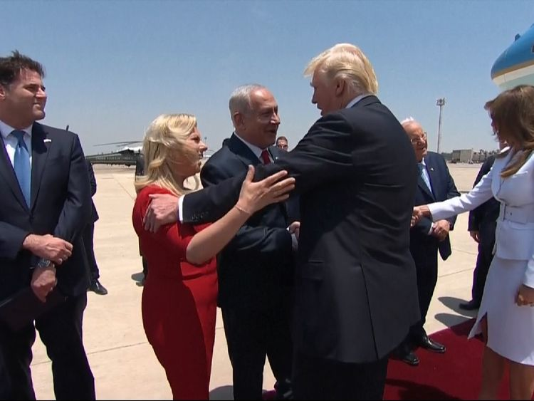 President Trump is welcomed to Israel be Prime Minister Netanyahu
