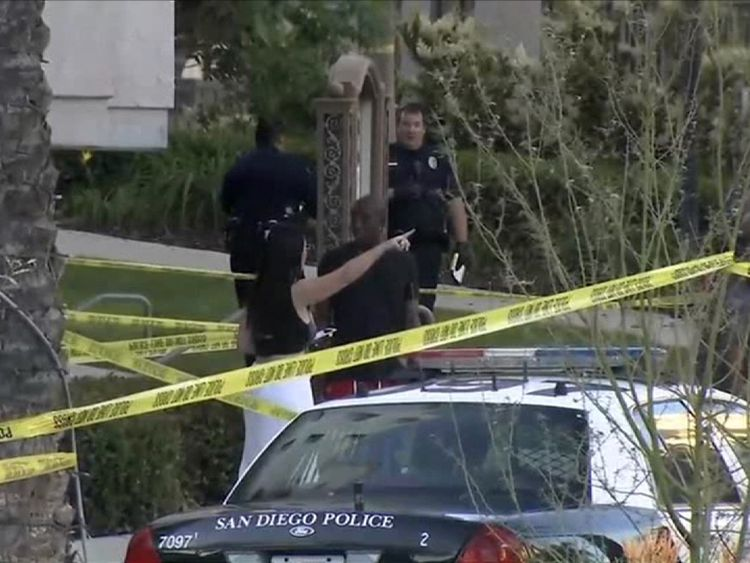 Police at the scene of the shooting. Pic: KFMB