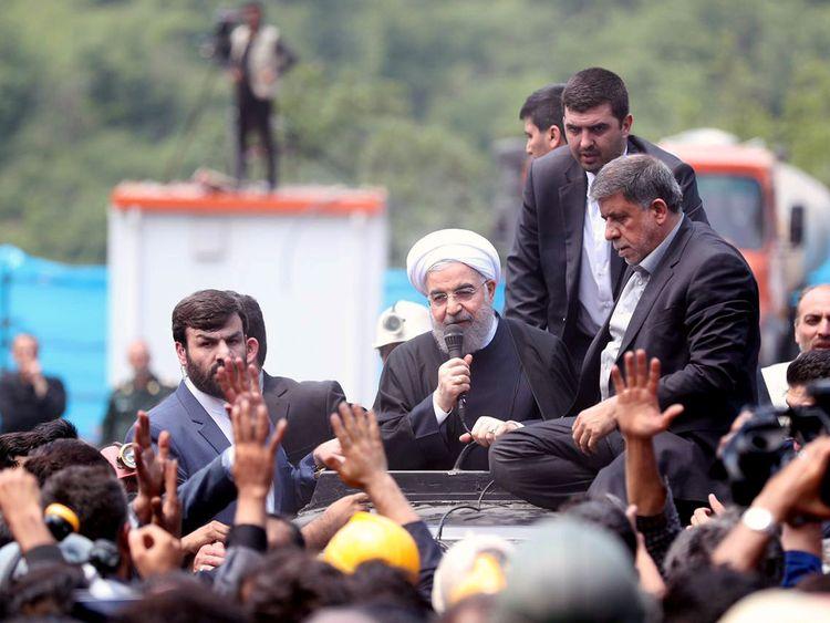 IranIran's President Hassan Rouhani speaks as he visits Azadshahr mine explosion site in Azadshahr, Golestan Province, Iran May 7, 2017