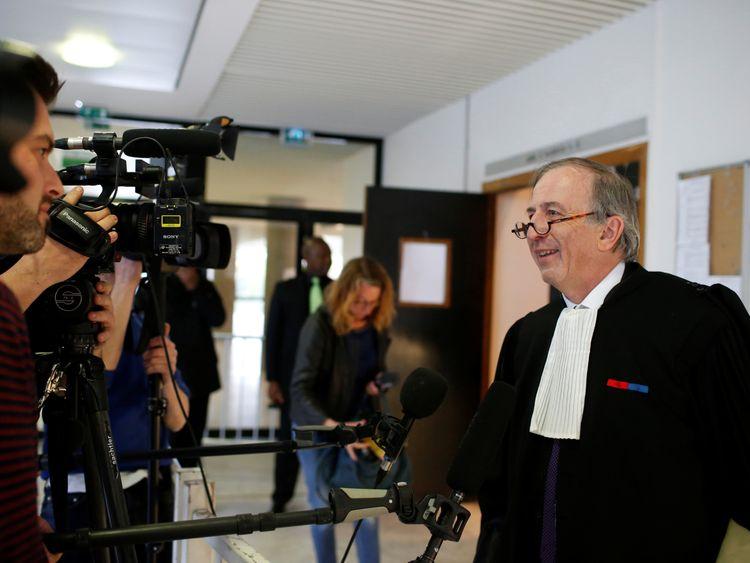 Closer magazine's lawyer Paul-Albert Iweins speaks to journalists