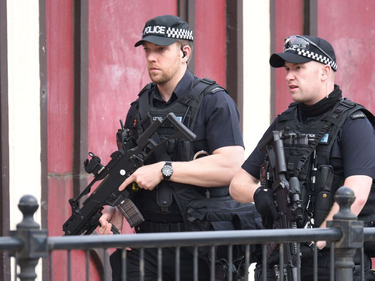 Armed police patrol near Manchester Arena