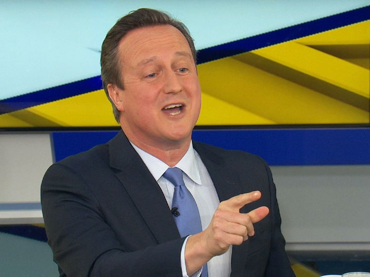David Cameron during a leaders' debate in the 2015 election