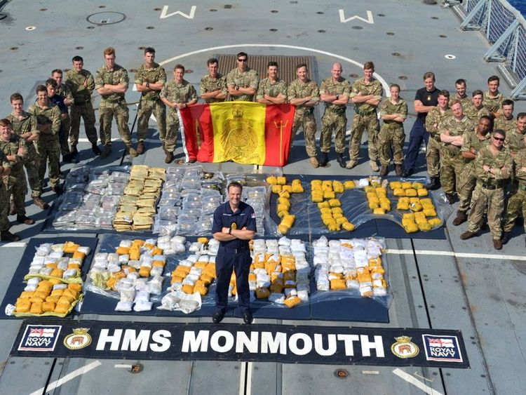 HMS Monmouth's team and the recovered drugs haul. Pic: Crown Copyright