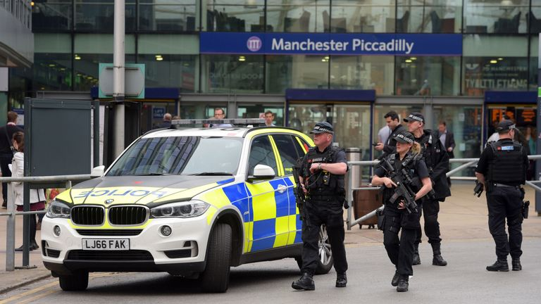 Armed police outside Manchester Piccadilly station