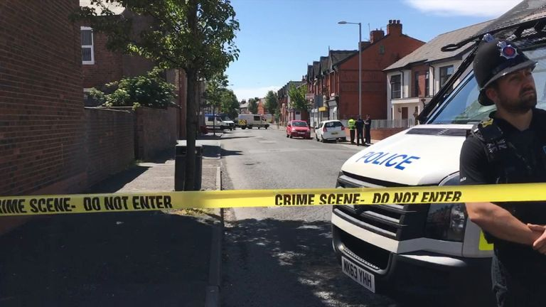 Several streets have been cordoned off in the Moss Side area as the search continues