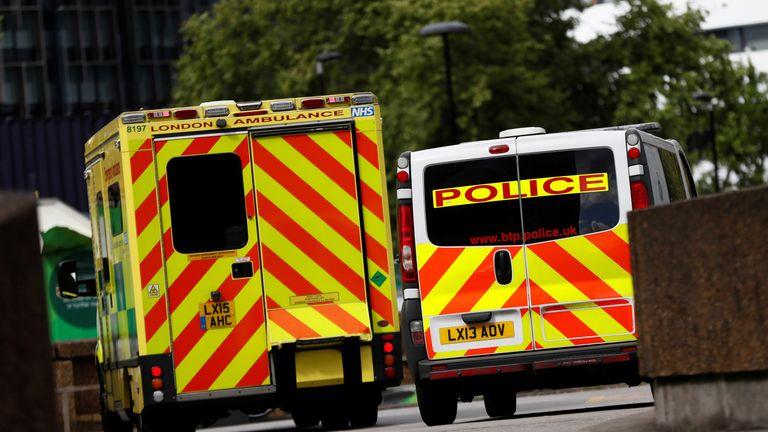 Ambulance and police van
