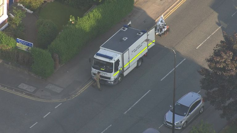The bomb squad on scene at a house in Wigan
