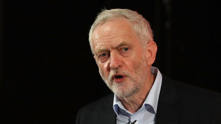 Labour leader Jeremy Corbyn speaks during a campaign rally