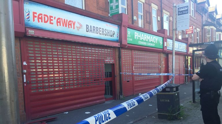 Police raided the Fade Away barbershop in Moss Side
