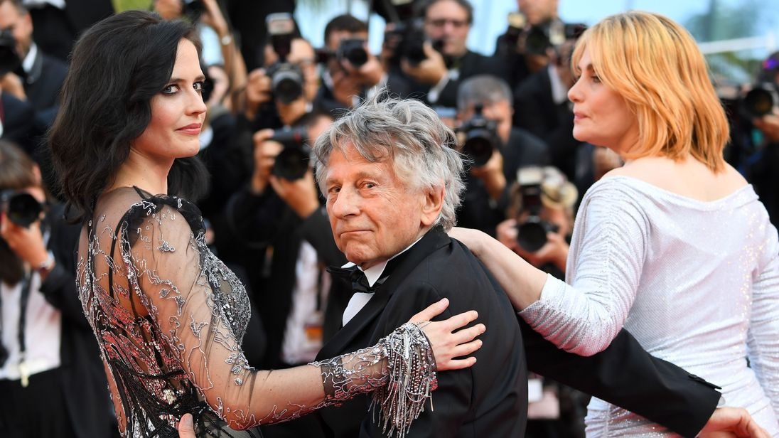 Polanski with actresses Eva Green and Emmanuelle Seigner at Cannes last month