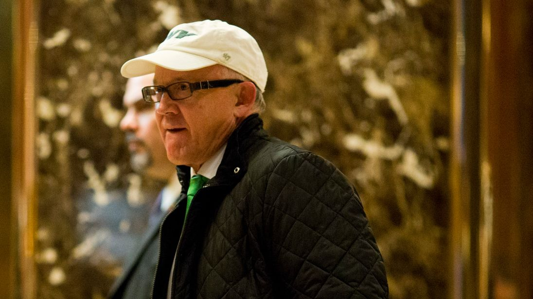 Woody Johnson, owner of the New York Jets NFL team, arrives at Trump Tower in New York City