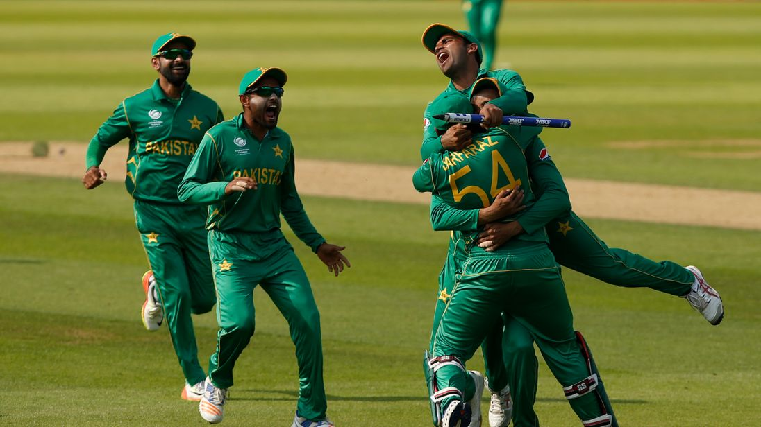 Pakistan's Sarfraz Ahmed and team mates celebrate winning the ICC Champions
