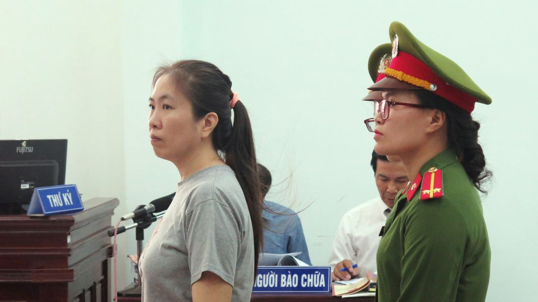 Vietnamese blogger Nguyen Ngoc Nhu Quynh, also known as 'Mother Mushroom', stands trial.
